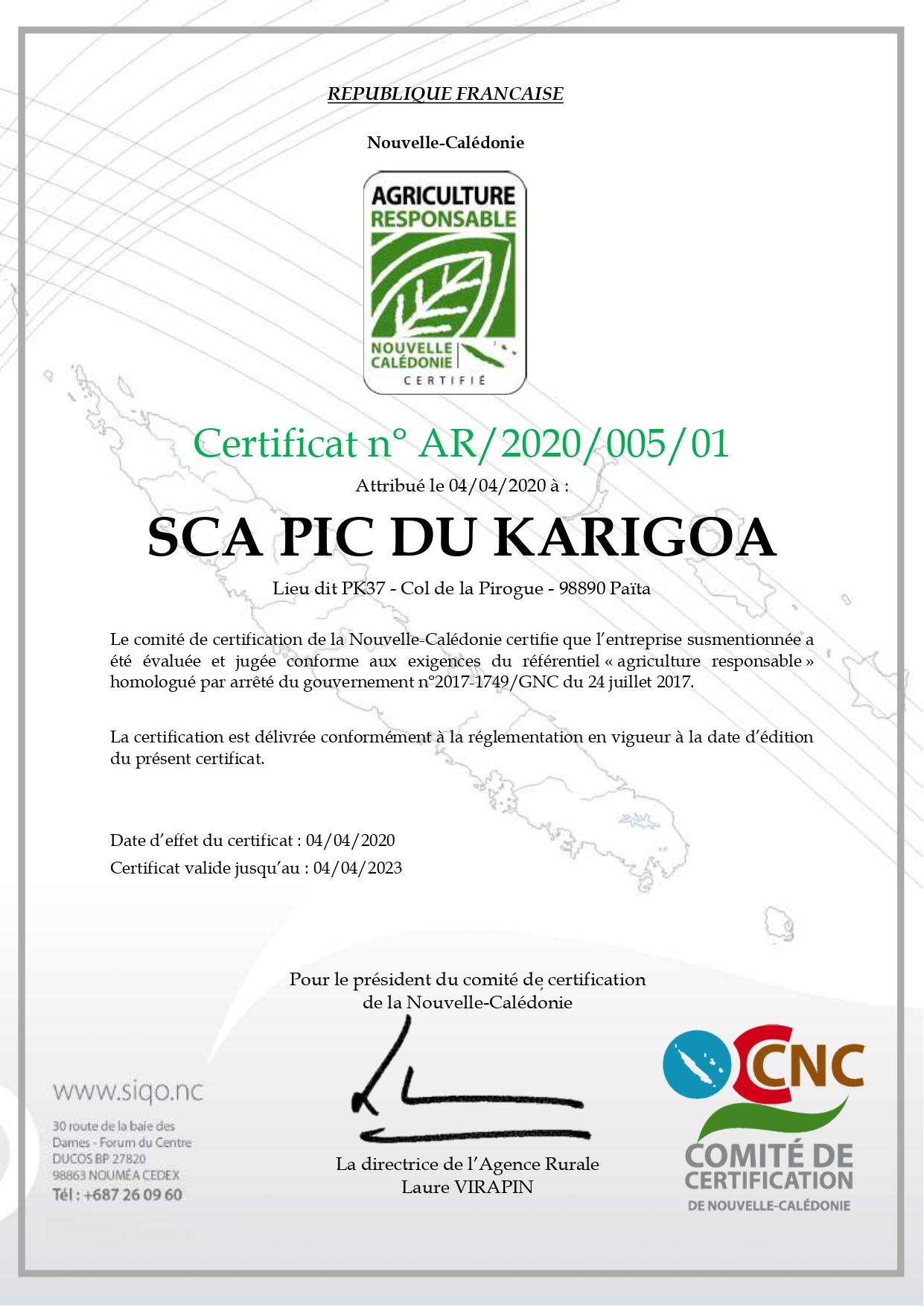 Agriculture+Responsable+AR+association+certification+nouvelle caledonie+innovante+sca+pic+karigoa