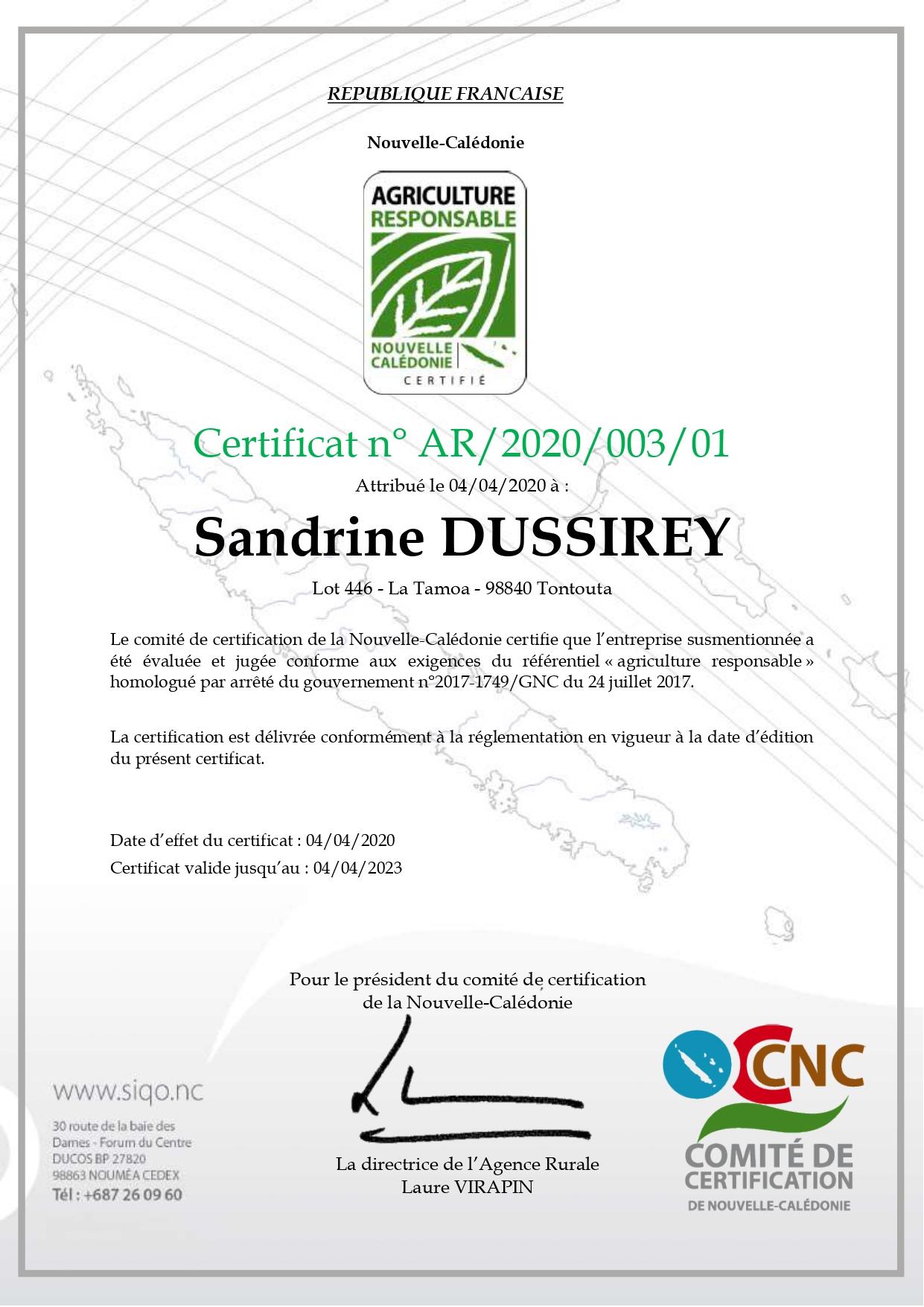 Agriculture+Responsable+AR+association+certification+nouvelle caledonie+innovante+sandrine+dussirey