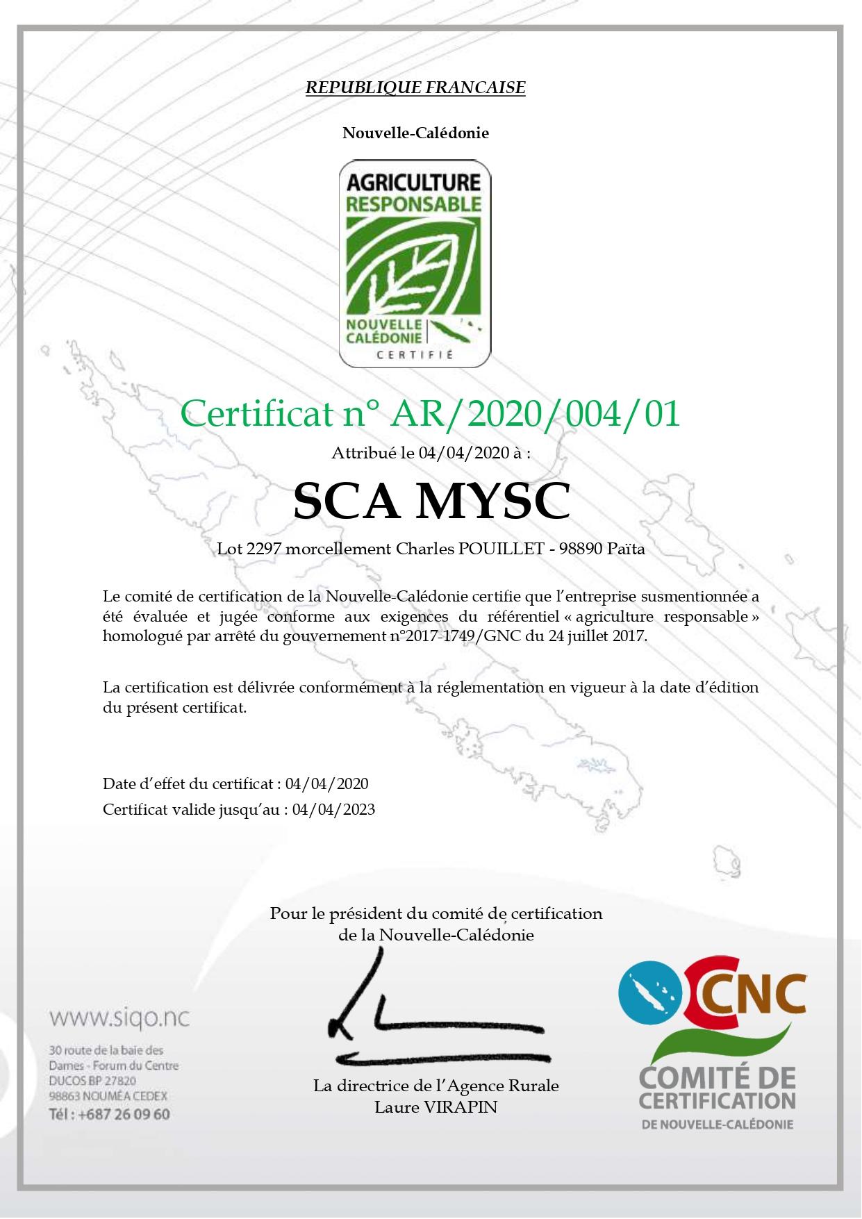 Agriculture+Responsable+AR+association+certification+nouvelle caledonie+innovante+mysc+sca
